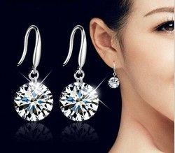 Chaude bijoux De Mode 925 Boucles D'oreilles en argent Femelle Cristal de Swarovski Nouvelle femme nom boucles d'oreilles Jumeaux micro ensemble