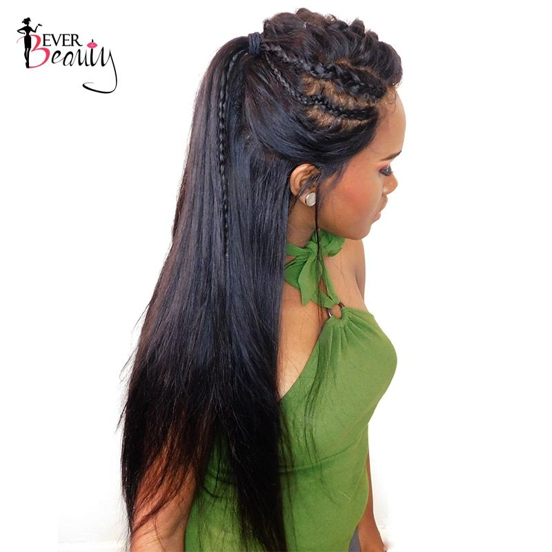 Ever Beauty 360 Lace Frontal Wig For Black Women 180% Density Pre Plucked Brazilian Silky Straight Human Remy Hair