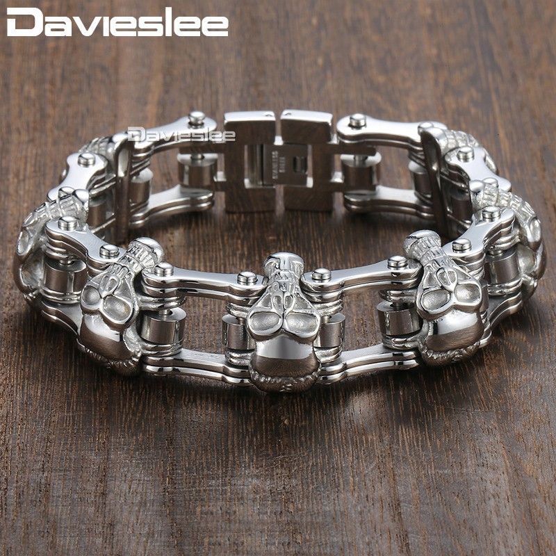 Bracelet homme crâne de motard Davieslee pour homme Bracelet moto acier inoxydable 316L DLHBM62