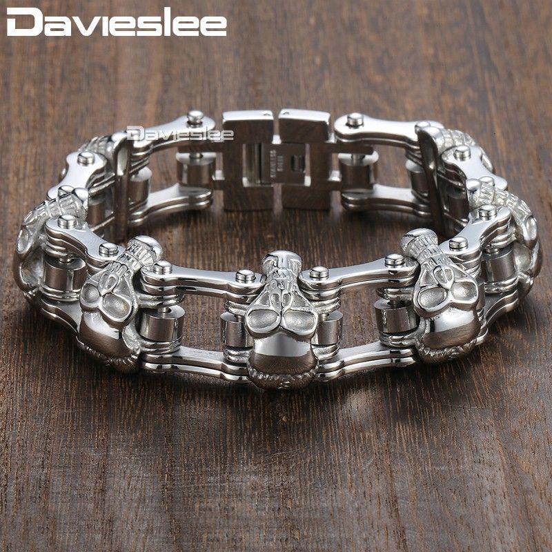 Davieslee Skull Biker Men's Bracelet for Men Motorcycle Link 316L Stainless <font><b>Steel</b></font> Bracelet DLHBM62