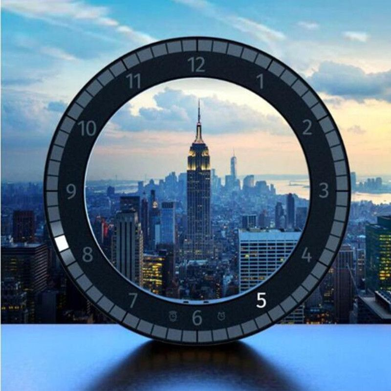 LED Creative Multifunction Electronic Clock Mute Hanging Wall Clock Black Circle Automatically Adjust Brightness Desk Clock
