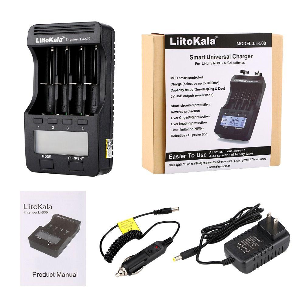 Liitokala lii-500 LCD 3,7 V/1,2 V AA/AAA 18650/26650/16340/14500/10440/18500Screen display lii500 2018 USB charger Hot Sale