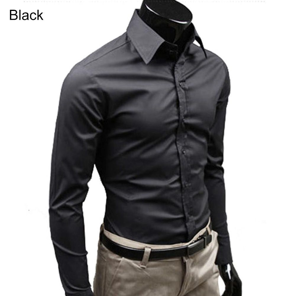 Men's Stylish Casual Solid Color Slim Fit Dress Shirt Long Sleeve Business Top