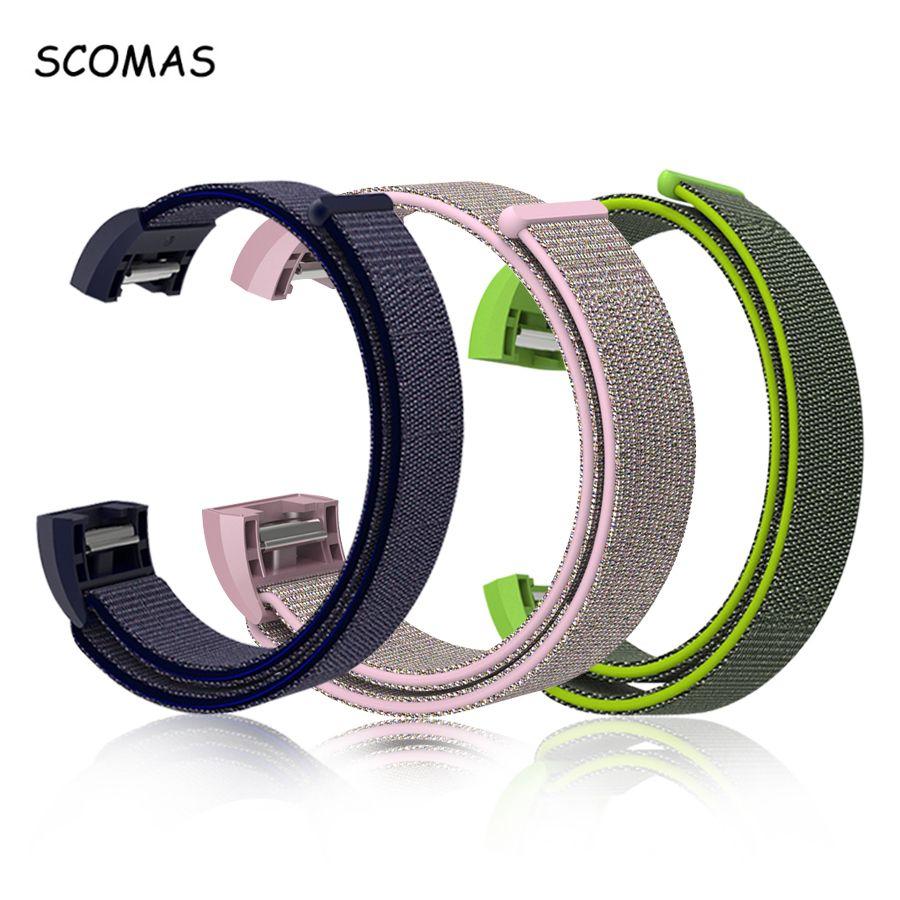 SCOMAS Für Fit Bit Ladung 2 Smart Tracker Nylon Magnetische Schleife Atmungsaktive Ersatz Band für Fitbit Charge2 Handgelenk Band Einstellen