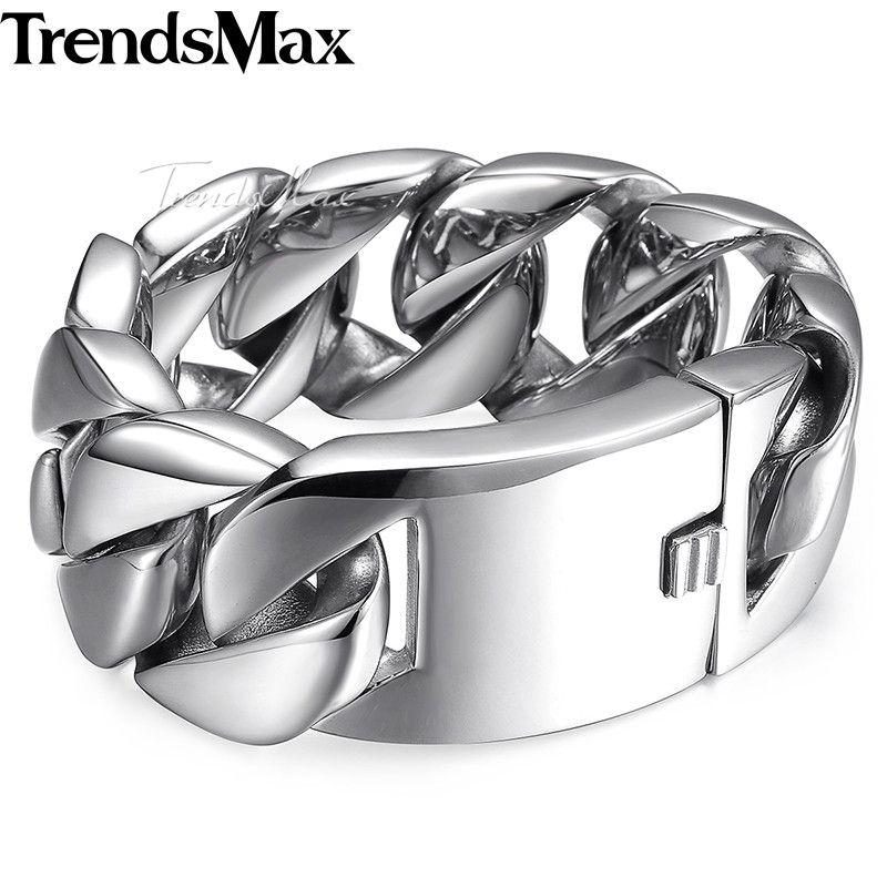 Trendsmax Polished Heavy Men's Bracelet 316L Stainless Steel Cuban Link Chain Biker Jewelry for Men 24/31mm HBM24