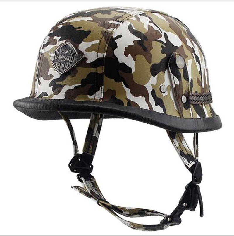 New German Retro Vintage Style Camouflage Open Face Half Helmet Motorcycle Helmet <font><b>Cruiser</b></font> Chopper Cafe Racer Casco Moto Helmet