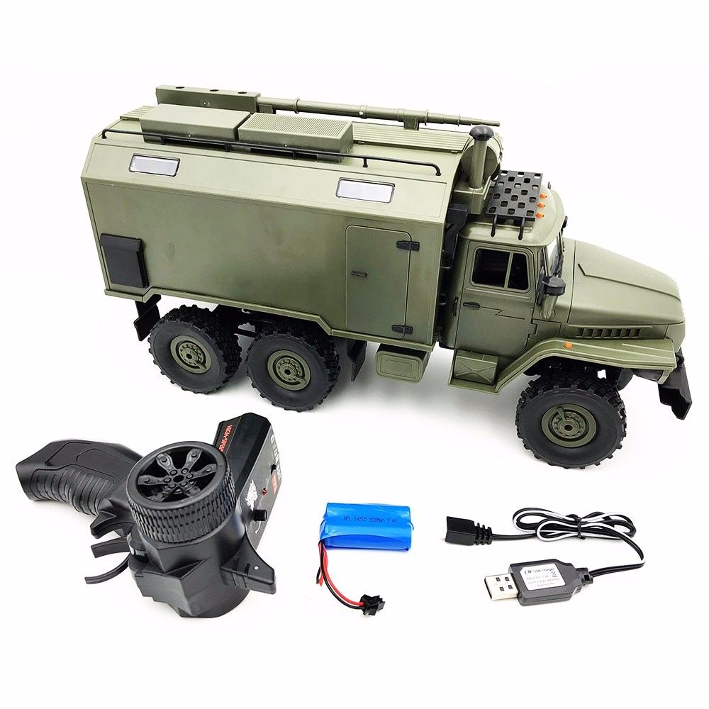 RC Car Military Truck WPL B36 Soviet Ural 1/16 2.4G 6WD Rock Crawler Command Communication Vehicle RTR Boy Toy Auto Army Trucks