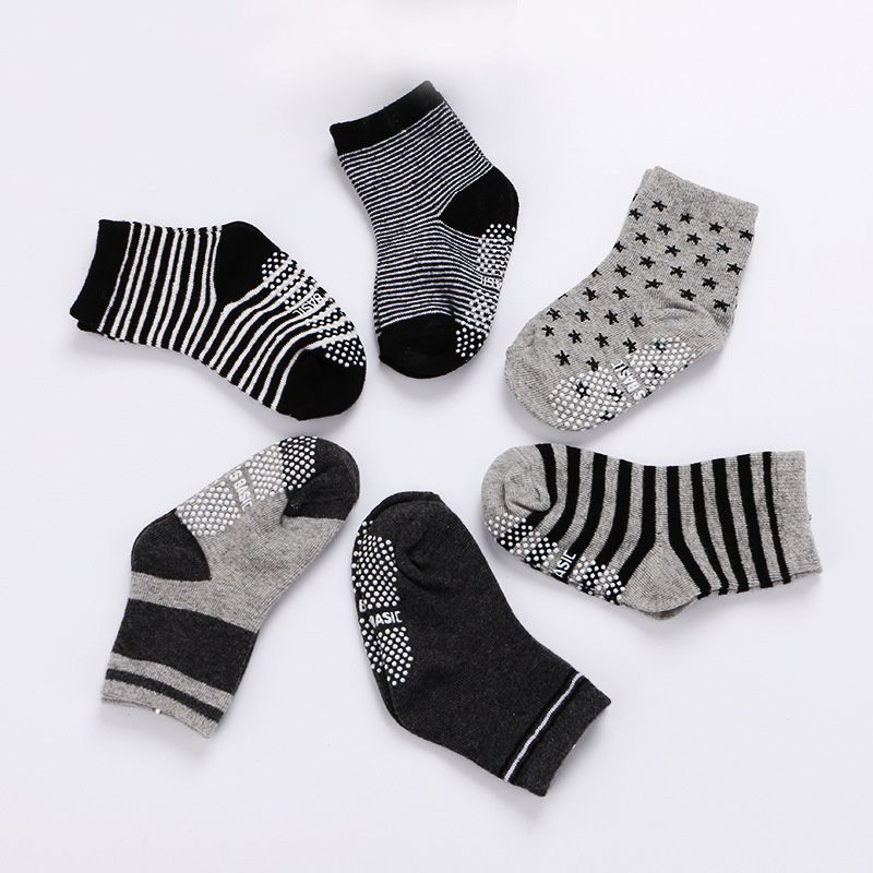 6 Pairs Assorted Non Skid Ankle Cotton Socks Baby Toddler Anti Slip Stripes Sock