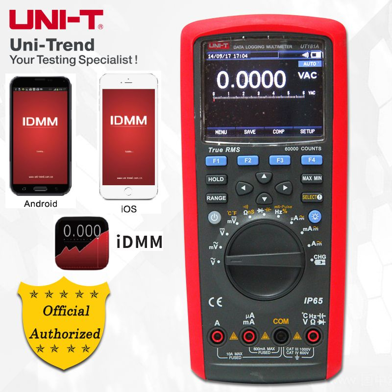 UNI-T UT181A True RMS Datalogging Multimeter; Digital Multimeter, Low-Pass Filtering/nS Conductance/Dual Temperature Measurement