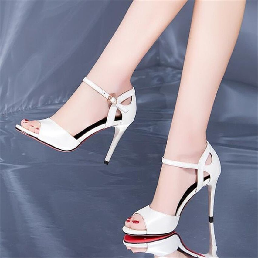 MLRCRIYG 2018 summer new leather sandals female fine with fish mouth high heel shoes <font><b>Rome</b></font> style buckles women's shoes