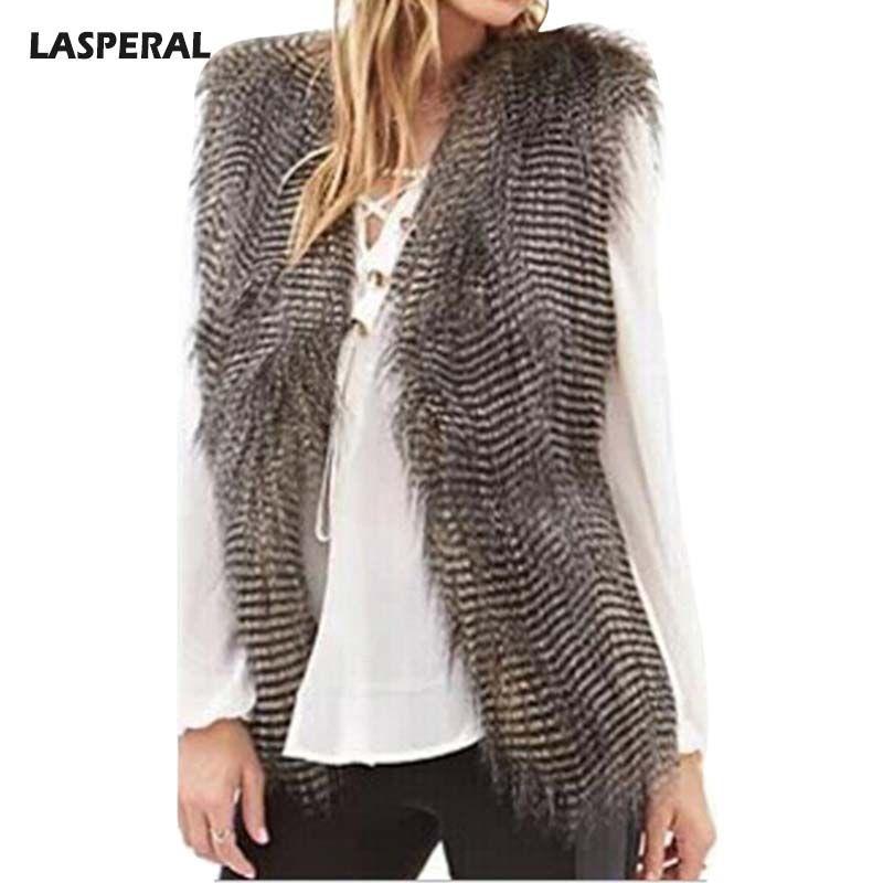 LASPERAL 2017 Plus Size Faux Fur Vest Winter Warm Women Luxury Fur Coat High Quality Jackets Coat Sleeveless Streetwear Female