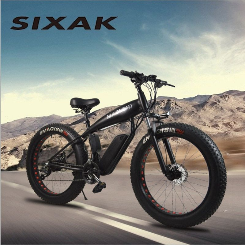 SIXAK electric bicycle 500W 24 speed strong electric grease lithium battery electric bicycle 26*4 cross-country bicycle fat bike