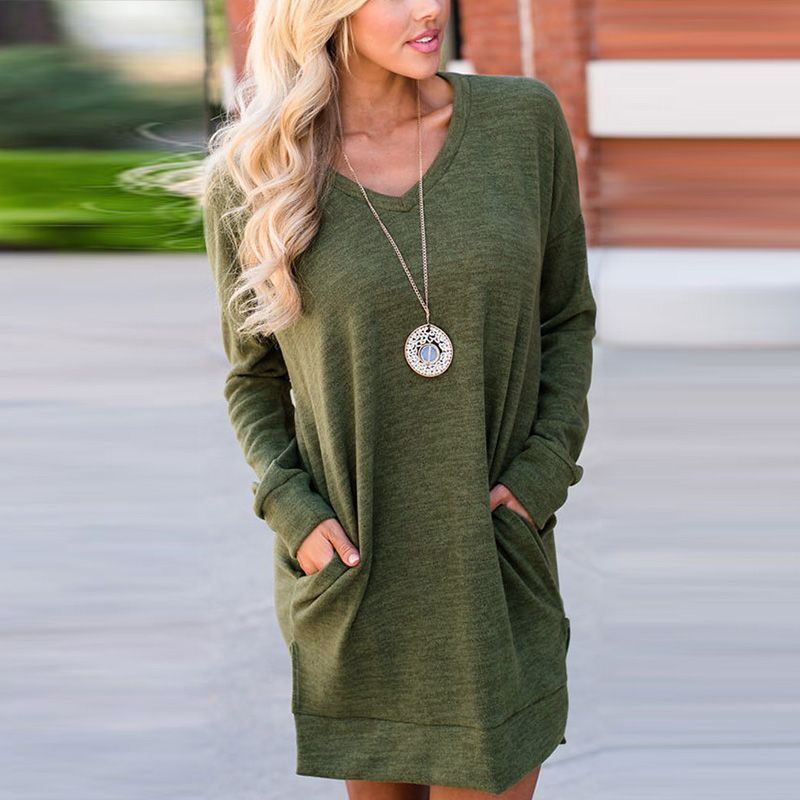 Women Mini Dress New 2017 Autumn V Neck Split Long Sleeve Solid Female Ladies Dress Pockets Loose Short Vestidos Tops Pollovers