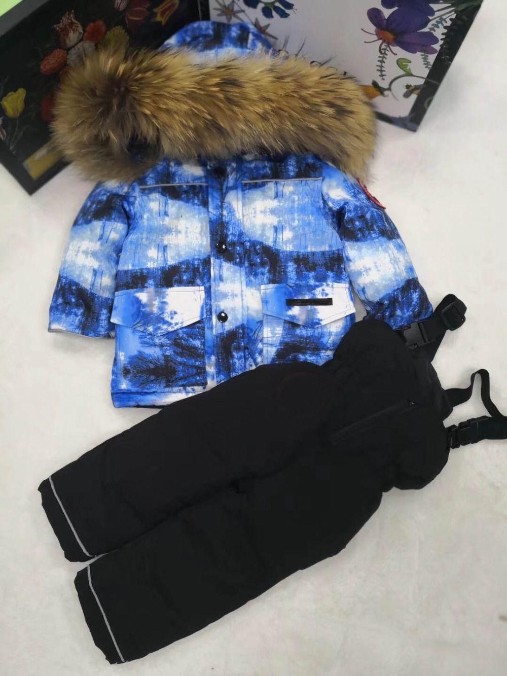 2018 Children Snowsuits Outdoor Windproof Waterproof Kids Sets Boys Girls Ski Suit Winter down sets kids clothing 85-145 cm