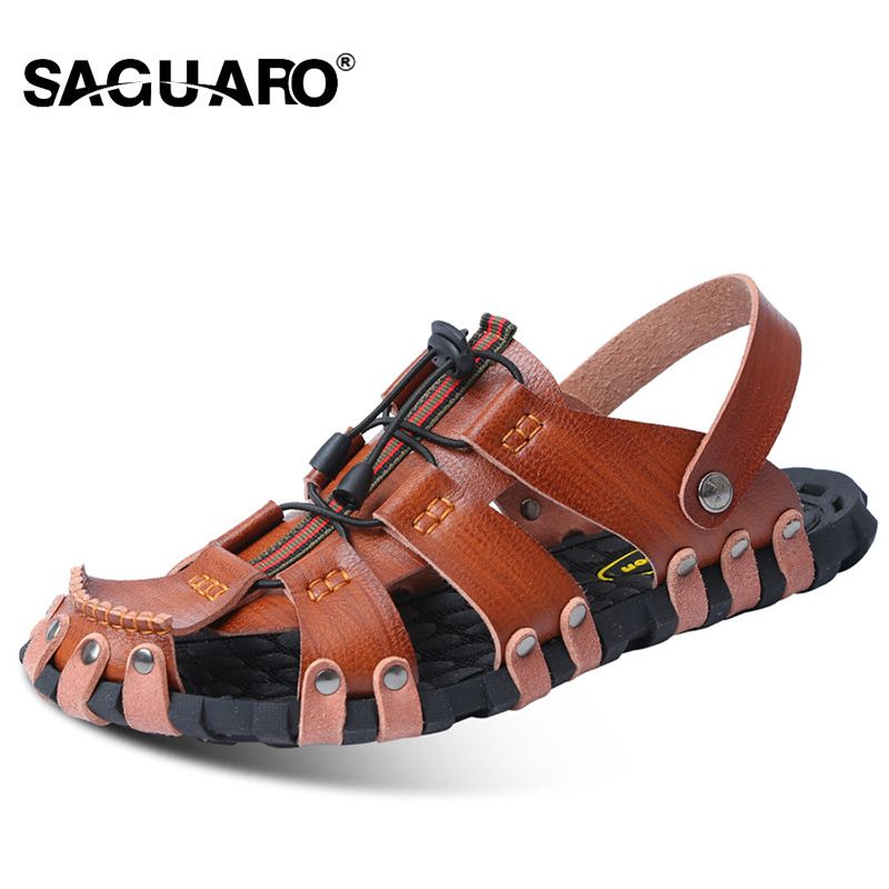 SAGUARO Genuine Leather Men Sandals Fashion Gladiator Summer Beach Slippers Slip On Flip Flops Men Zapatos Sandalias Hombre