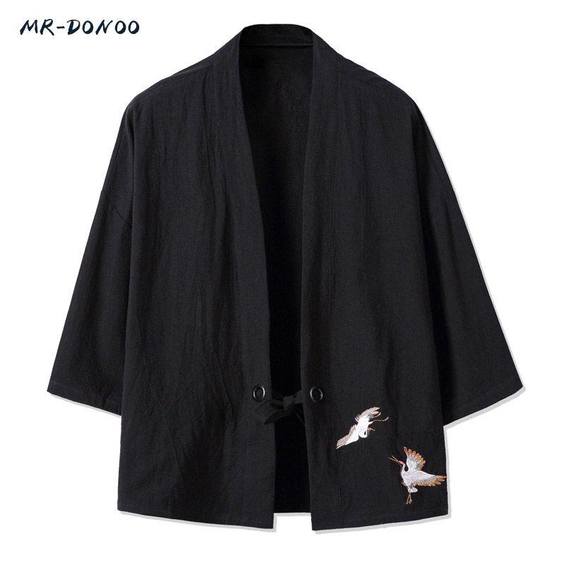 Mrdonoo кимоно китайский стиль Мужская Ретро три четверти рукав куртка-кардиган китайцы одежда свободные большой хлопок льняной Топ