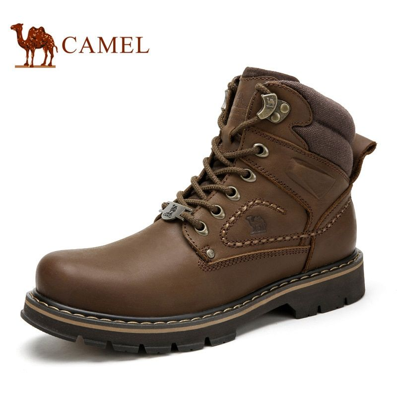 CAMEL Men's Shoes Winter Autumn Quality Tooling Boats Army Male Tactical Military Genuine Leather Boots Rubber Work Shoes Man