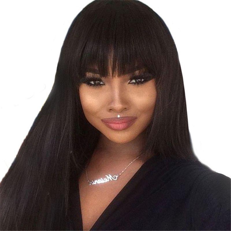 150% droite 13*4 avant de lacet perruques de cheveux humains avec frange naturel noir brésilien Remy cheveux pour les femmes pré plumé noeuds blanchis