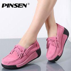 Pinsen mujeres plataforma plana Mocasines señoras elegante mocasines Fringe Zapatos mujer slip on tassel mocasin mujeres casual Zapatos