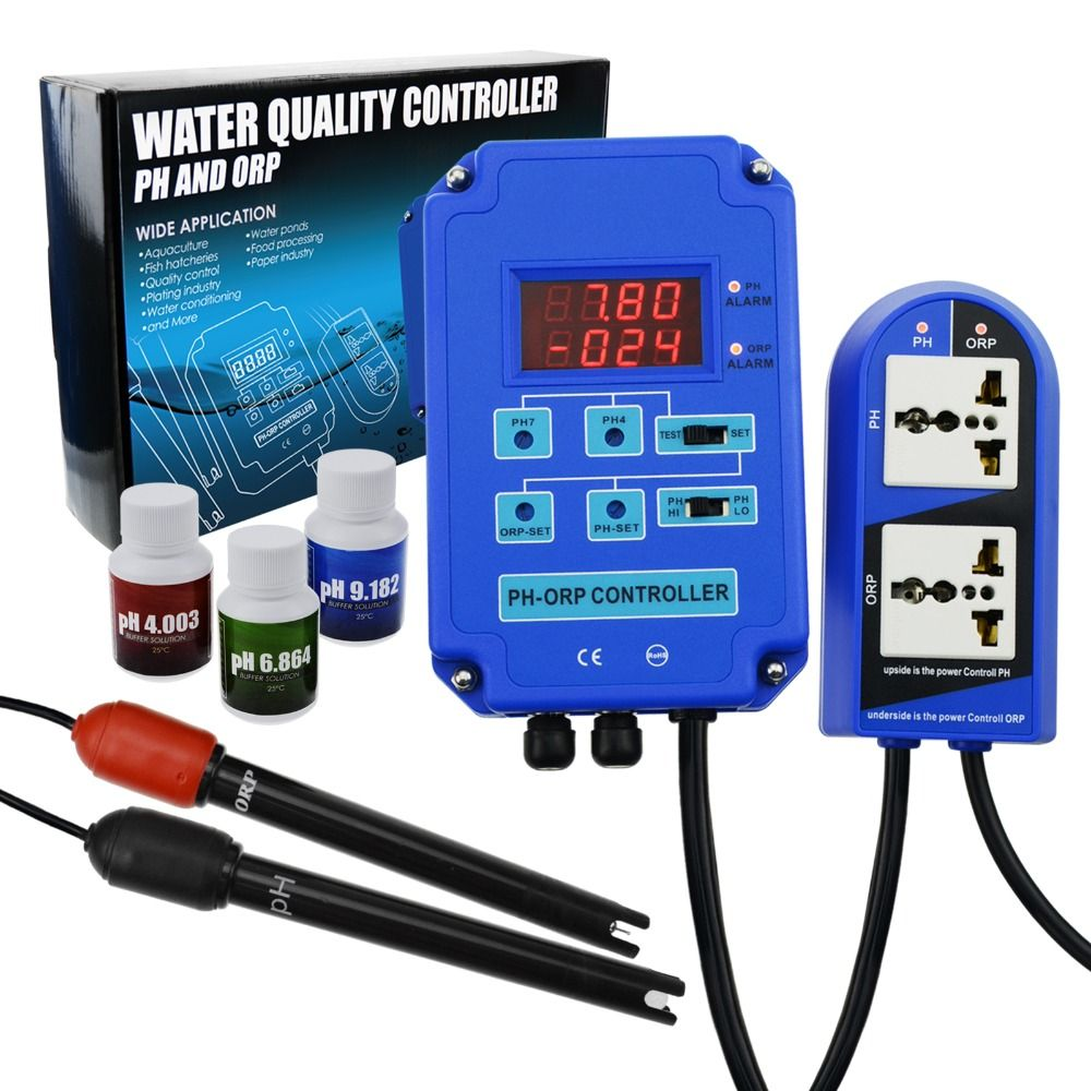 Contrôleur numérique pH ORP Redox 2 en 1 avec contrôle de relais de puissance de sortie, sonde d'électrode BNC, Kit de compteur de qualité de l'eau