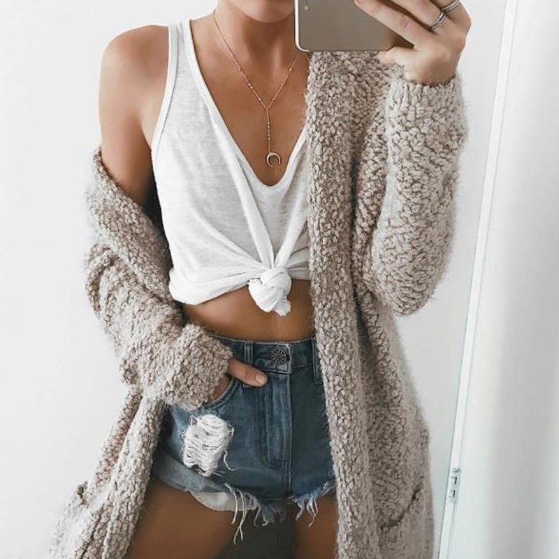 Long Cardigans Sweater with Hat Autumn 2017 Women Outwear Long Sleeve Pockets Winter Warm Sweater Coat Oversize Top 7 Colors