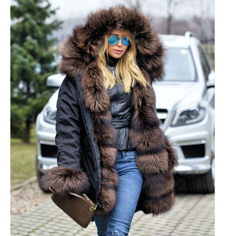2018 neue Frauen Lange ArmyGreen Camouflage Winter Jacke Outwear Dicke Parkas Natürliche Echt Fox Pelz Kragen Mit Kapuze Mantel Pelliccia