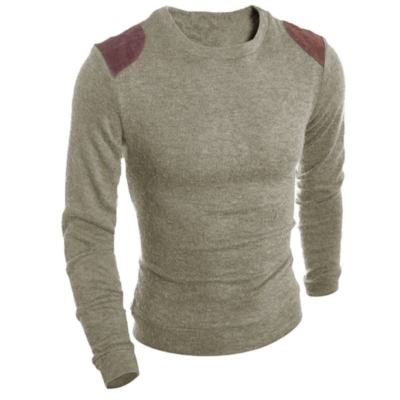 Autumn Spring Fashion Classic Solid Sweater O-Neck Leather Stitching Slim Fit Knitting Men's Sweaters And Pullovers Men Pullover