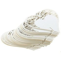 50 pcs/ensemble De Mariage Décoration De Table Place Cartes Laser Cut Coeur Floral Verre de Vin Cartes D'endroit Pour la Décoration De Noce