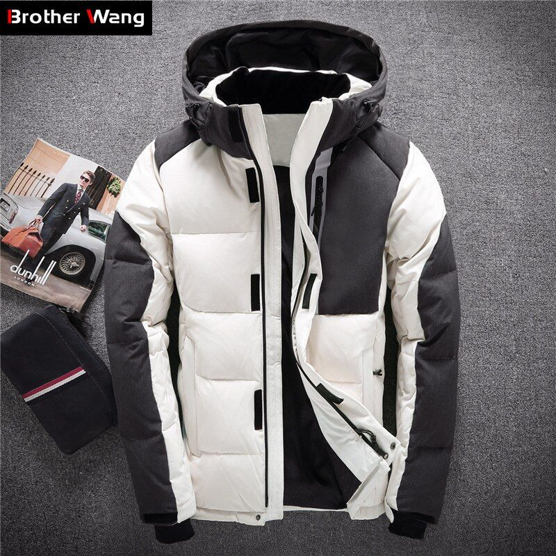 2018 Winter New Men Warm White Duck Down Jacket Clothes Trend Stitching Cold Resistant Hooded White Coat Male Brand Clothing