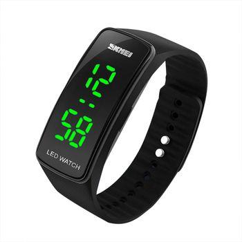 СВЕТОДИОДНЫЙ цифровой Мужская и Женская Повседневная силиконовой лентой Дата спортивные наручные часы браслет подарок