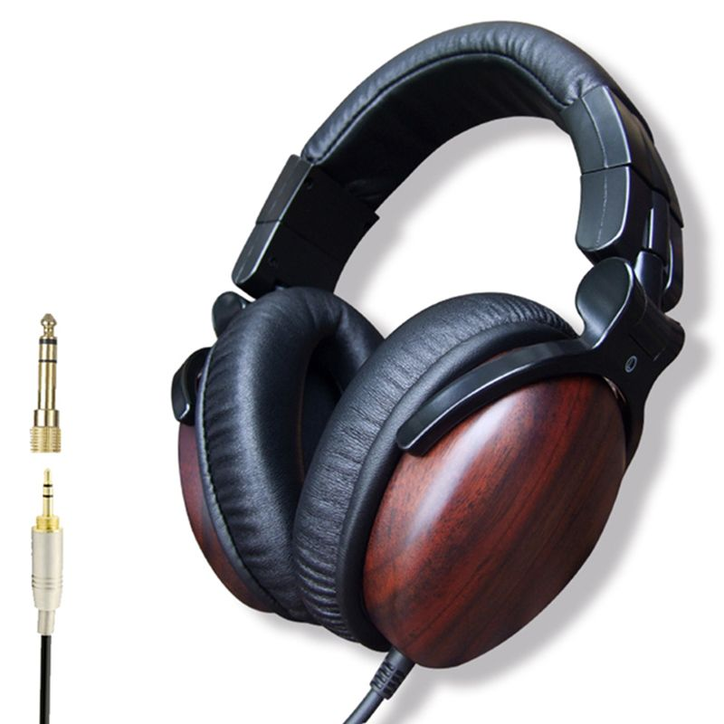 Premium Professional High Quality Over-ear Wired Hifi Hd Dj Studio Wood Wooden Music Headphones Casque 3.5mm Headset No Mic