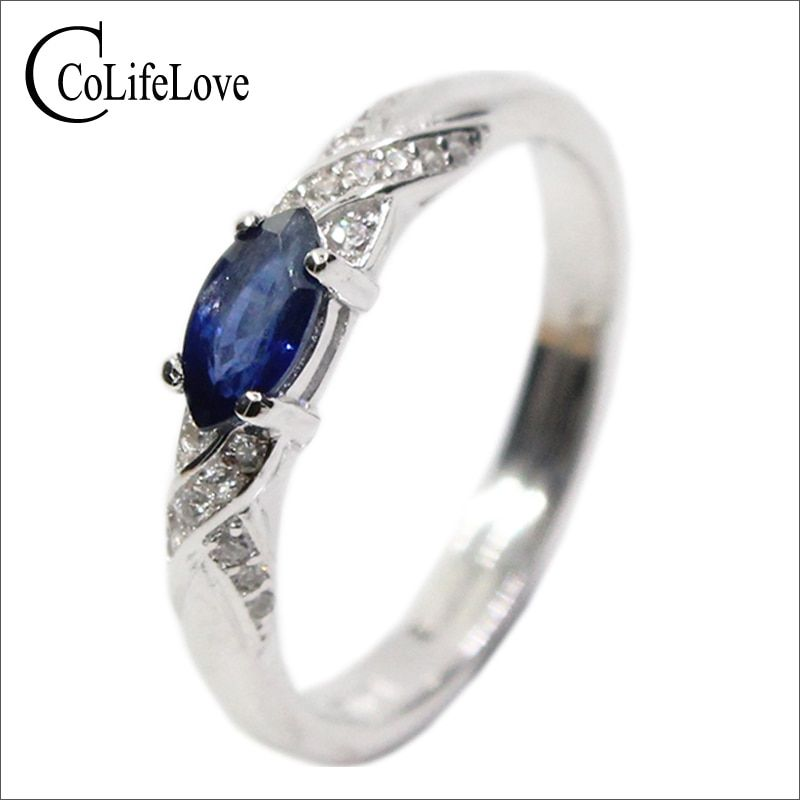 Hotsale anillo de zafiro natural 3*6mm natural Sapphire piedras preciosas anillo de plata sólido 925 anillo de zafiro plata de China sapphire M