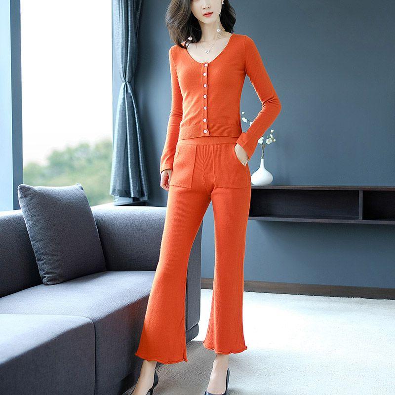 2018 Autumn Korean Version Of The Hotel Style Women's Temperament Was Thin Two-piece Fashion Casual Sport Swear Set