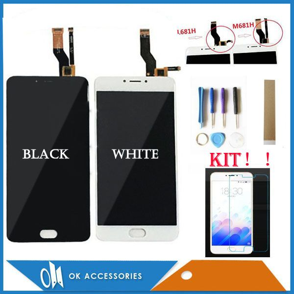 5.5 Inches For Meizu M3 Note L681H M681H LCD Display+Touch Screen Digitizer Assembly Black White With Protector Glass Tools Tape