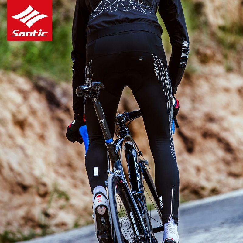 Santic Winter Cycling Tights Pants Men Outdoor Warm Pants Cycling Bicicleta Cycling Full Pants 3D CoolMax GEL pad