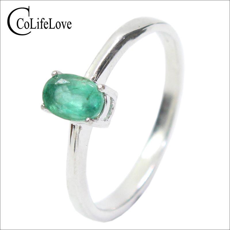 Promoción natural Esmeralda anillo de boda para mujer 0.4 Ct 4mm * 6mm natural i grado Esmeralda sólido 925 plata anillo de la piedra preciosa Esmeralda