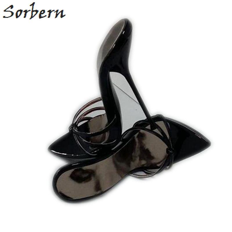 Sorbern Sexy Black 14Cm 16Cm Cross Strap Slippers Women Night Club Ladies Shoe For Display T-Show Dance High Heel Slides Female