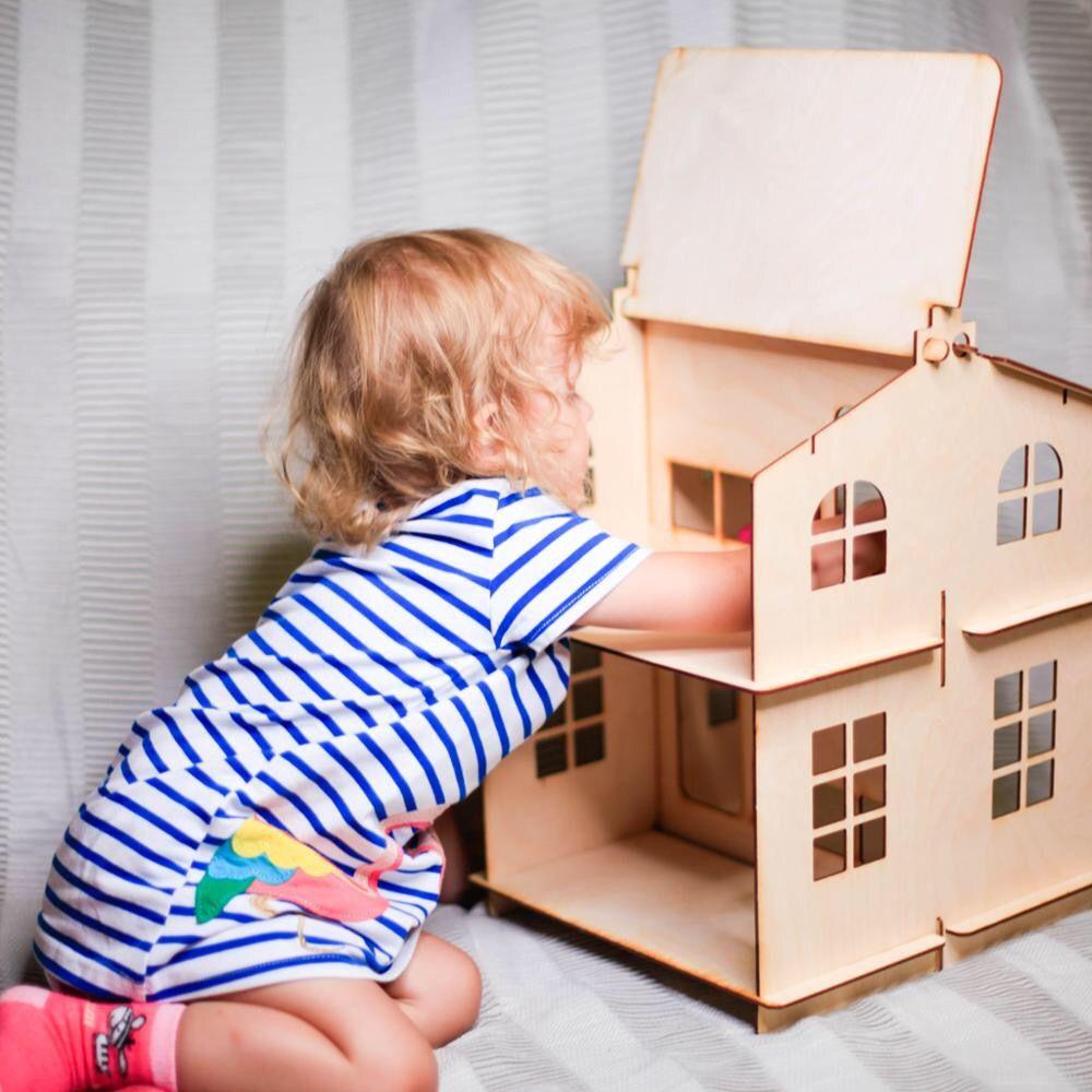 Puppen Hause Spielzeug haus Neue Jahr Geschenke Diy Puppe Haus Miniatur Holz Gebäude Brithday puppe zubehör block teil sperrholz DFM-2