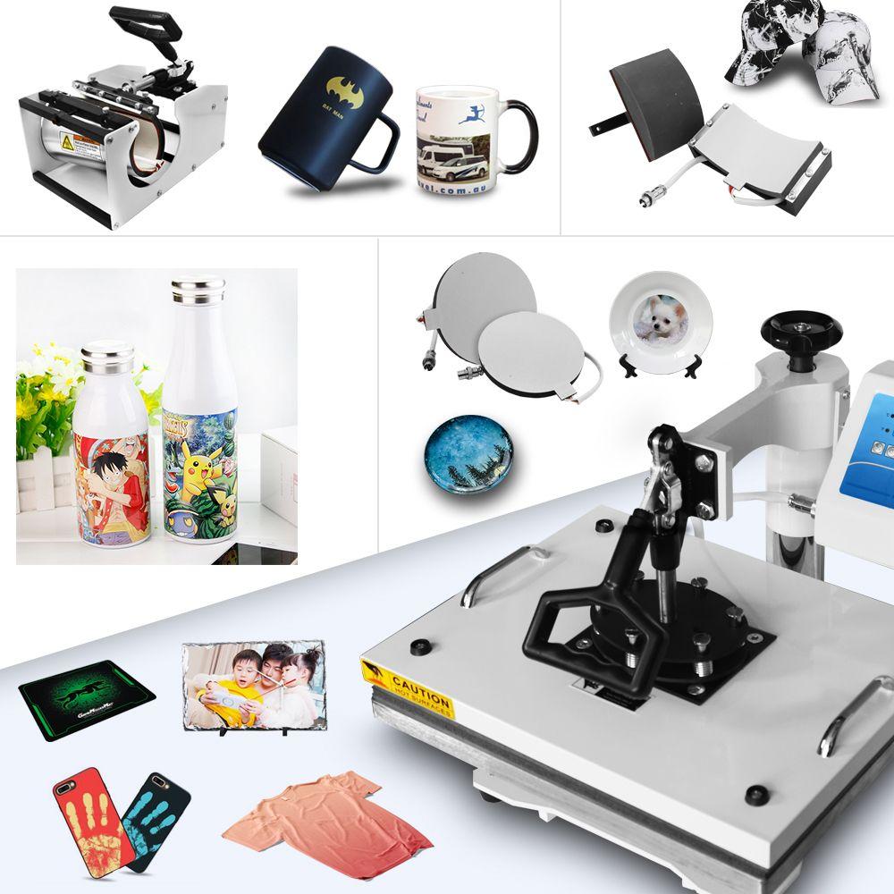 30*38 cm 8 in 1 Combo Wärme Drücken Drucker Maschine 2D Thermische Transfer Drucker für Kappe Becher Platte t-shirts Druck