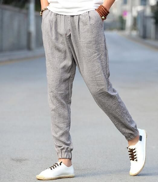 Linen men's trousers summer thin section loose wide-legged pants young Chinese wind cotton and linen material bloomers male beam