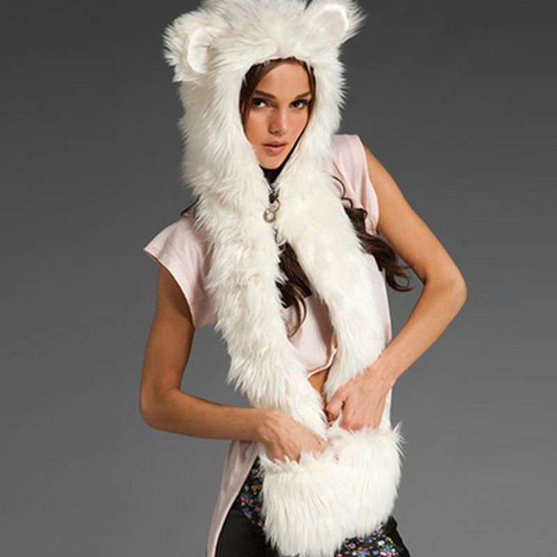 2017 Winter Warm Women&Men Kawaii Scarf Shawl Animal Faux Fur Ear Hat Fluffy Plush Cap Casual Cute Girl Hood Gloves Scarf Shawl