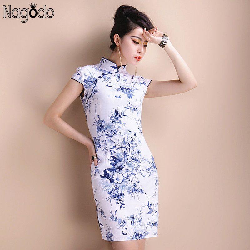 Élégant Cheongsam robe femmes S à 5Xl 2016 chinois court rétro Sexy robe Mini Qipao Mandarin col chinois robes de grande taille