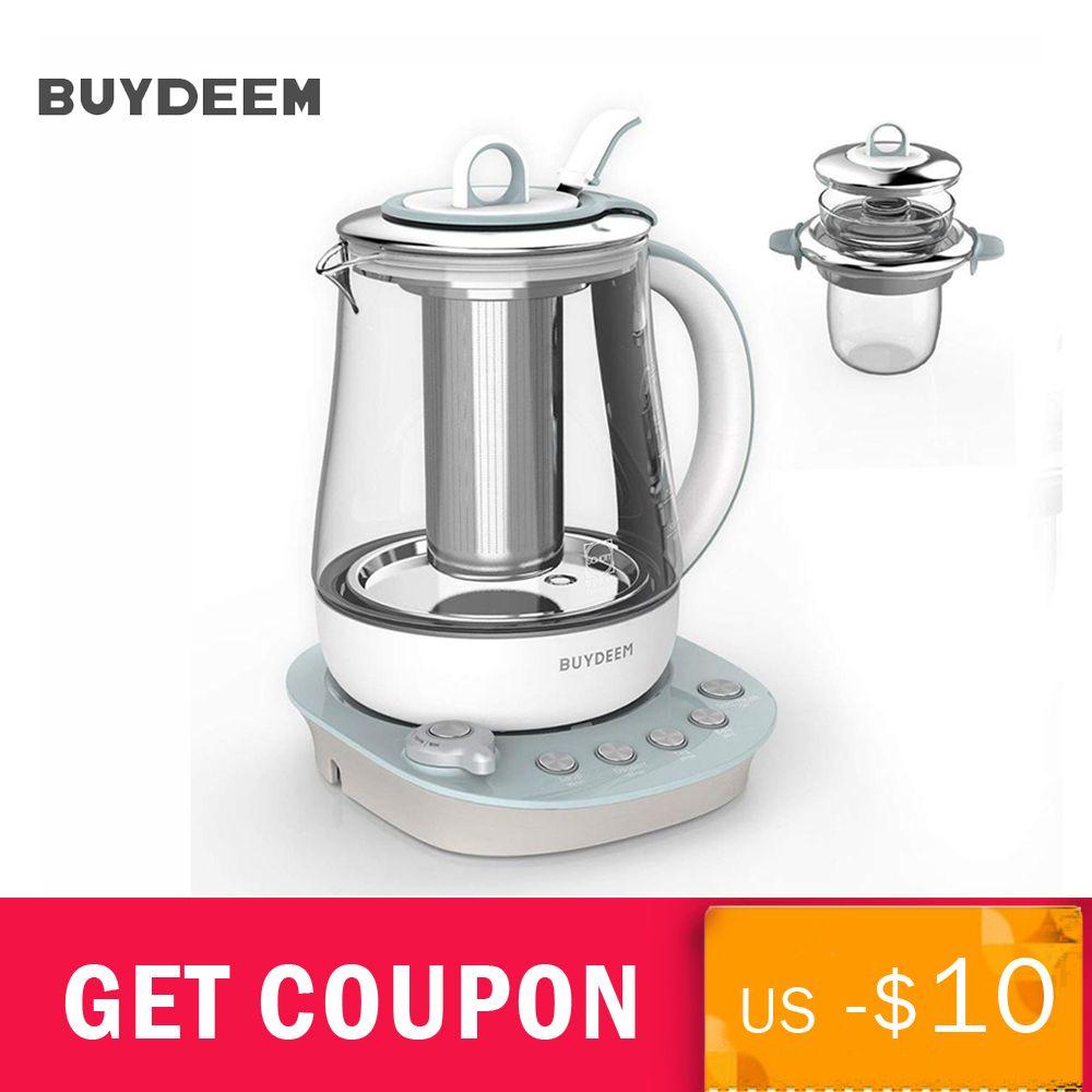 Buydeem 9-in-1 Gesundheit-Pflege Getränke Tee Maker Glas Wasserkocher 1.5L Gesundheit Bewahren Topf Programmierbare Brauen herd Master K2683