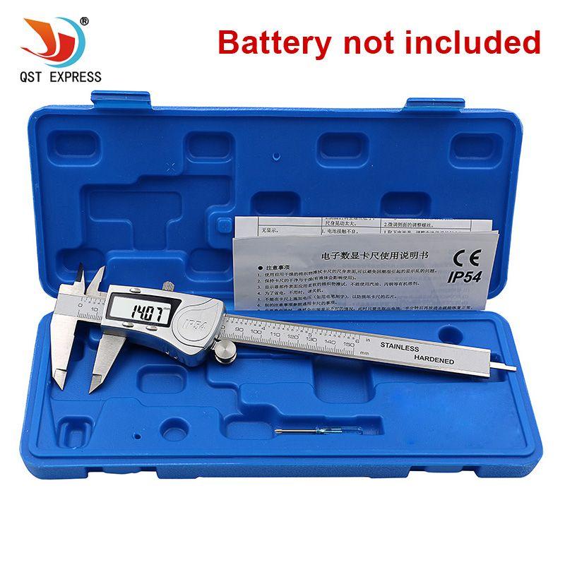 QSTEXPRESS Industrielle IP54 Numérique Étrier 0-150mm 0.01 En Acier Inoxydable Électronique Vernier Étriers Métrique Pouces Outils De Mesure