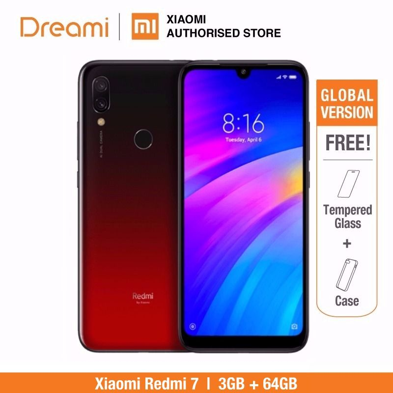 Global Version Xiaomi Redmi 7 32GB ROM 3GB RAM (Brand New and Sealed Box) RED COLOR