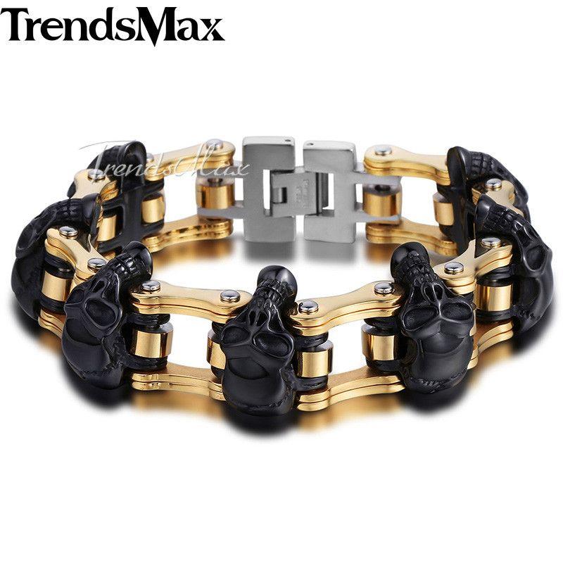 Trendsmax Skulls Bracelet For Men 316L Stainless Steel Bicycle Skulls Link Chain Big Heavy Biker Bracelets Jewelry 22cm HBM66