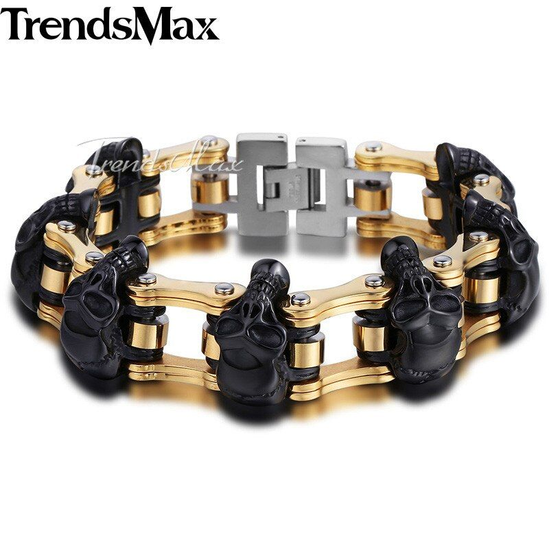 Trendsmax Skulls Bracelet For Men 316L Stainless Steel Bicycle Skulls Link Chain Big Heavy Biker Bracelets Jewelry 22cm HBM66
