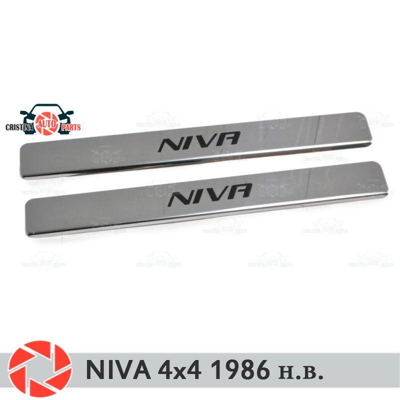 Einstiegsleisten für Lada Niva 4x4 1986-2018 schritt platte inneren trim schutz scuff auto styling dekoration kurze schwarze buchstaben version