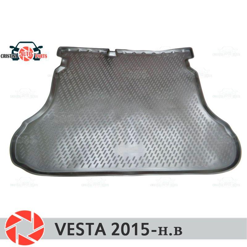 Für Lada Vesta SD/SW/SW KREUZ 2015-stamm matte boden teppiche non slip polyurethan schmutz schutz innen trunk auto styling