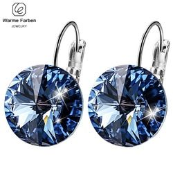 Серьги WARME FARBEN для женщин, сделанные с кристаллами Swarovski, круглые серьги в форме камушка, серебро 925, ювелирные изделия, серьги, подарок для ле...